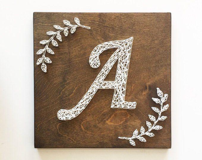 Laurel Wreath Monogram String Art, String Art Letter, String Art Monogram Sign, Wreath String Art, Laurel Wreath Sign, Letter String Art #stringart