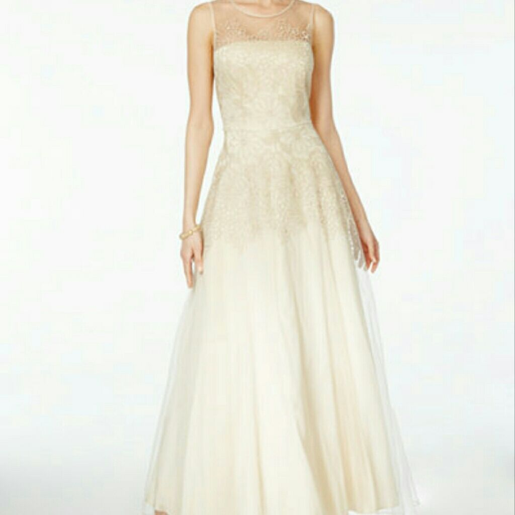 Champagne gold evening gown dress formal size gold evening