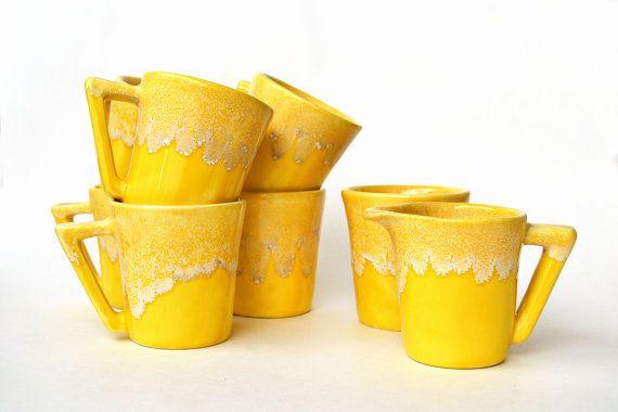 Mid Century Set 6 Mugs Plus Sugar and Creamer by YellowBeeVintage