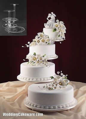 4 tier cascading wedding cake stand stands set | Wedding cake ...