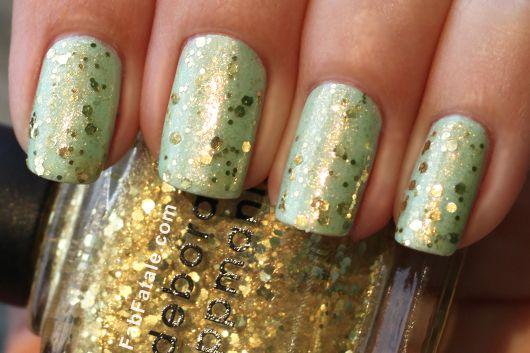 Deborah Lippman Boom Boom Pow Gold Sequin Glitter + Mint Green Nail Polish