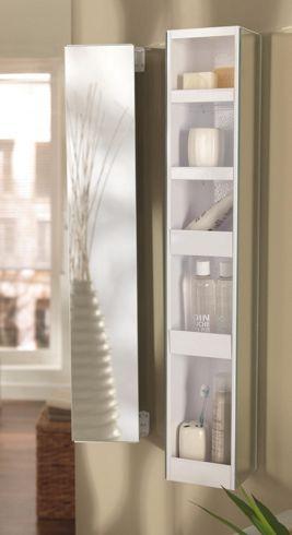 Fali tükrös szekrény: fém kivitelben, 3 oldalt tükrös, állítható magassággal, 360 fokban forgatható, 4 belső polccal, Szé/Ma/Mé:kb.14,5/90/12,5cm