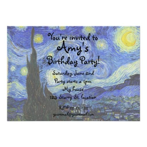 Van Gogh Starry Night Invitation Zazzle Com Starry Night Van Gogh Starry Night Starry Night Painting