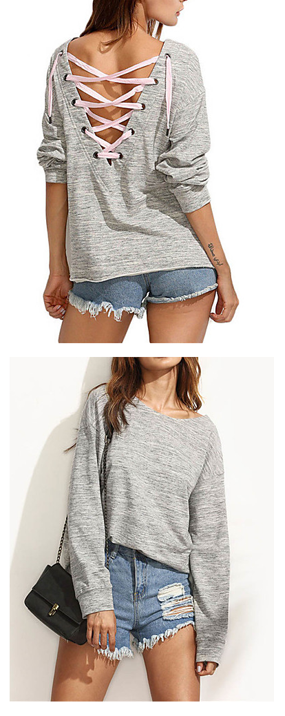 Even sweatshirts can be stylish. Find this chic back strapped grey pullover at just €12.73