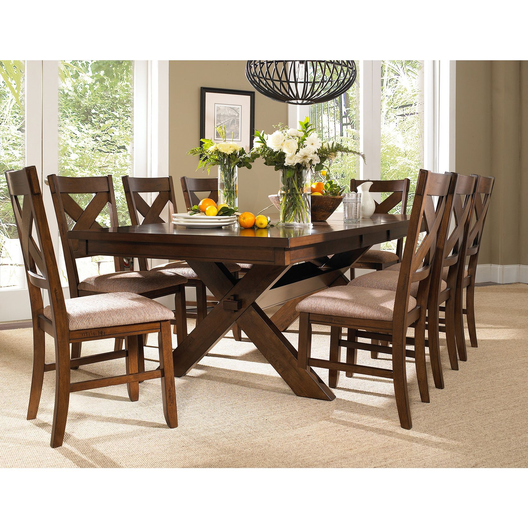 Watch contemporary and classic design come together with this 8 person dining set it also has the ability to just seat six if you want more of an intimate