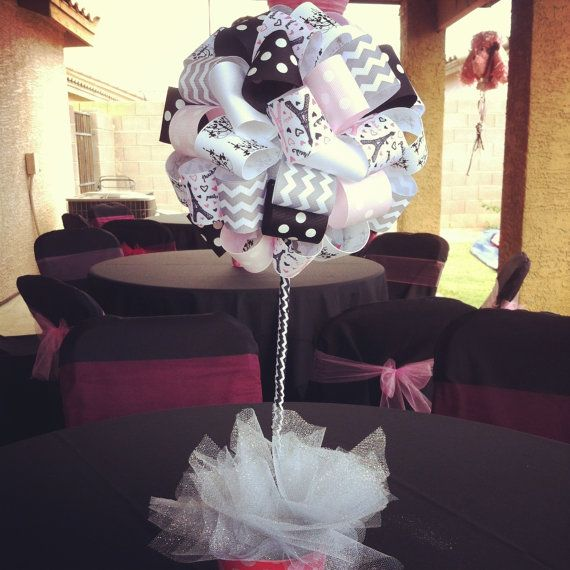 Paris ribbon topiary centerpiece for birthday by SuperGlamPartyDec, $12.00