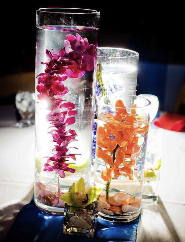 Submerged orchids make great wedding centerpieces