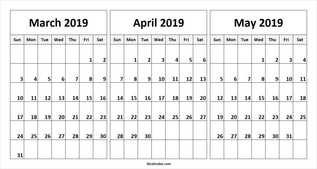 March April May 2019 Calendar In Pdf Word Excel Printable Template