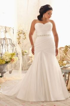 43af5b0b6c5 Fit and Flare Crisscross Satin Plus Size Wedding Dress