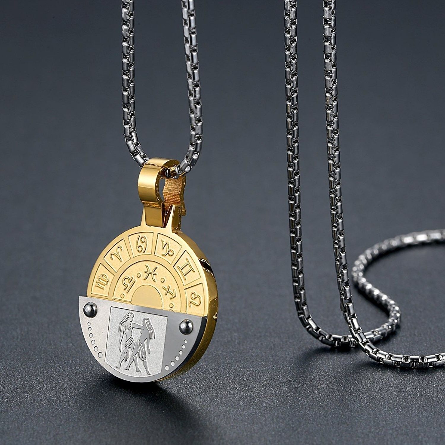 Stainless steel zodiac horoscope sign pendant necklace unisex