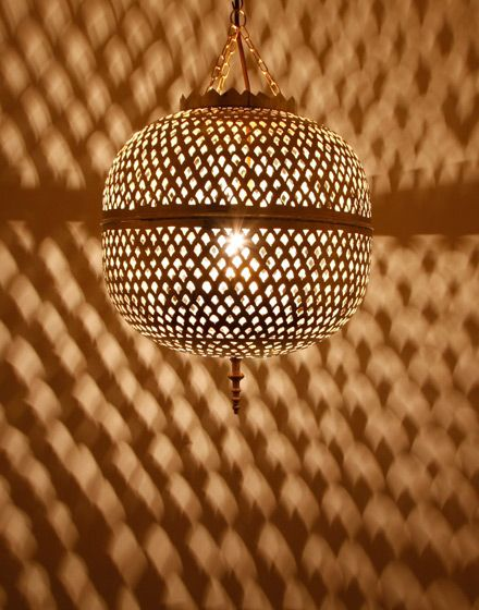 Moroccan Pendant Lamp In Shiny Brass Finish