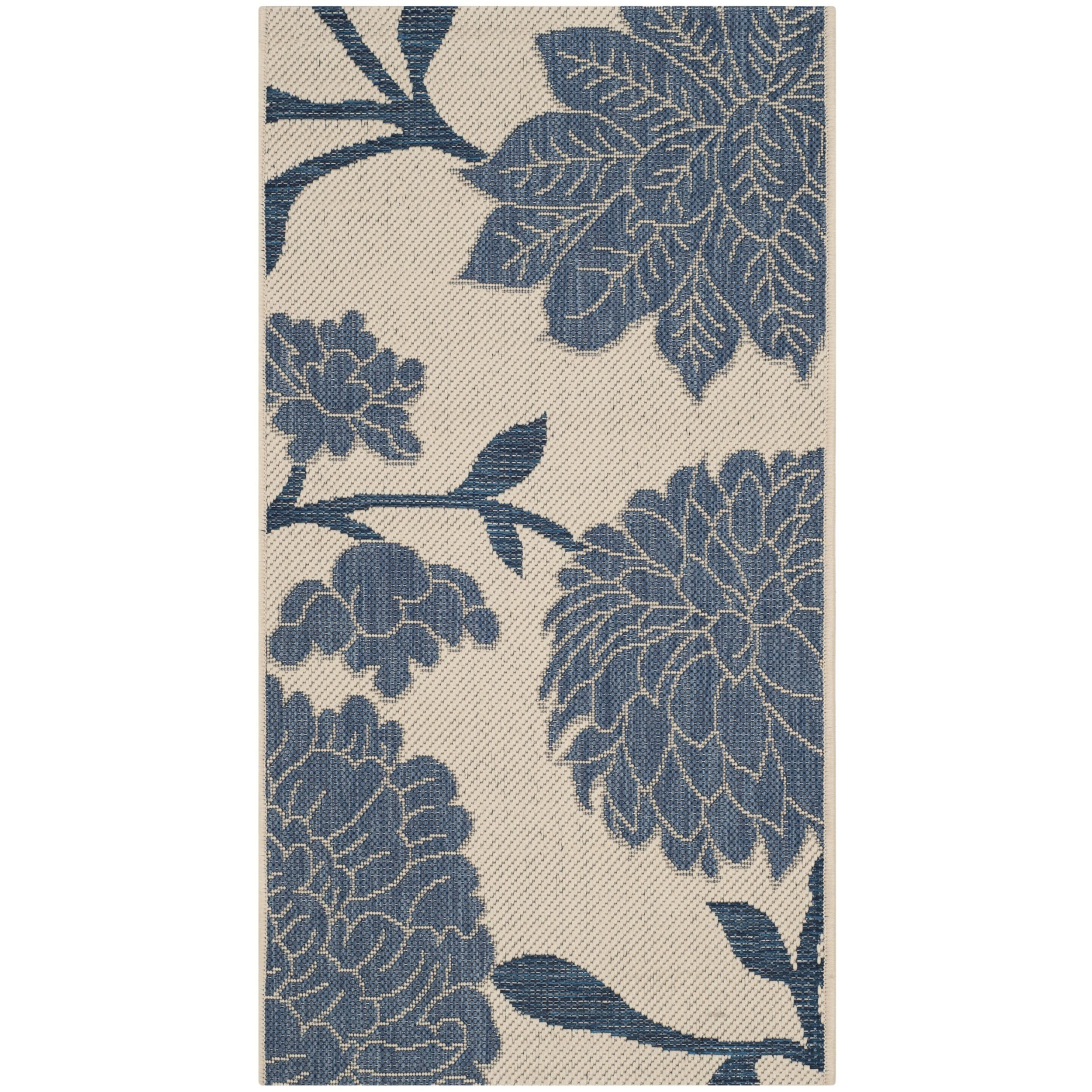 Safavieh Indoor/ Outdoor Courtyard Beige/ Blue Rug (2' x 3'7) (CY7321-233A25-2) (Polypropylene, Floral)