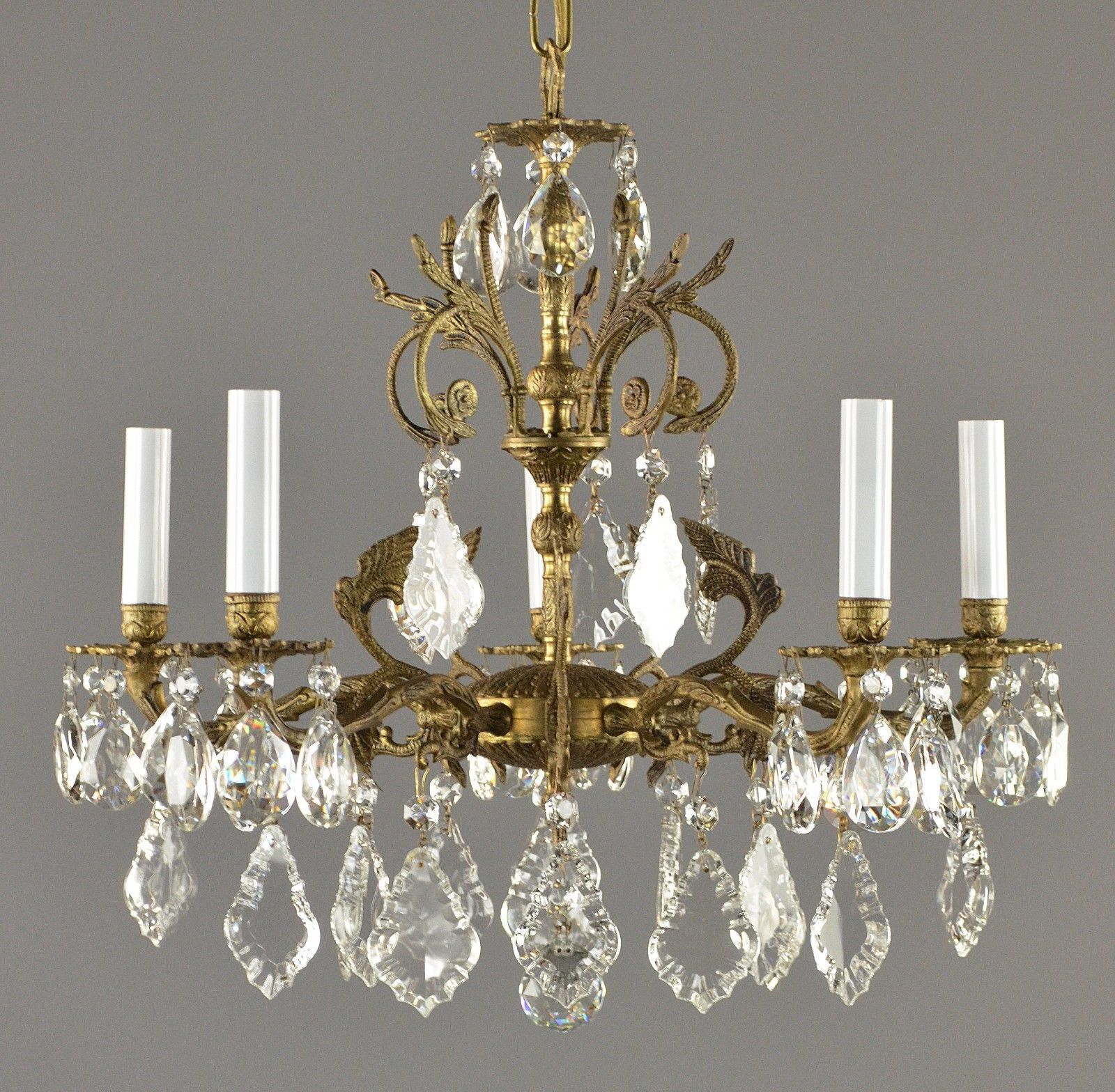 Spanish brass crystal chandelier c1950 antique gold vintage spanish brass crystal chandelier c1950 arubaitofo Image collections