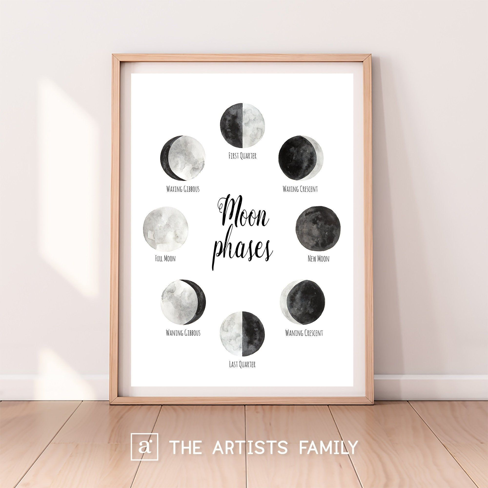 Moon Phases Downloadable Prints Lunar Water Color