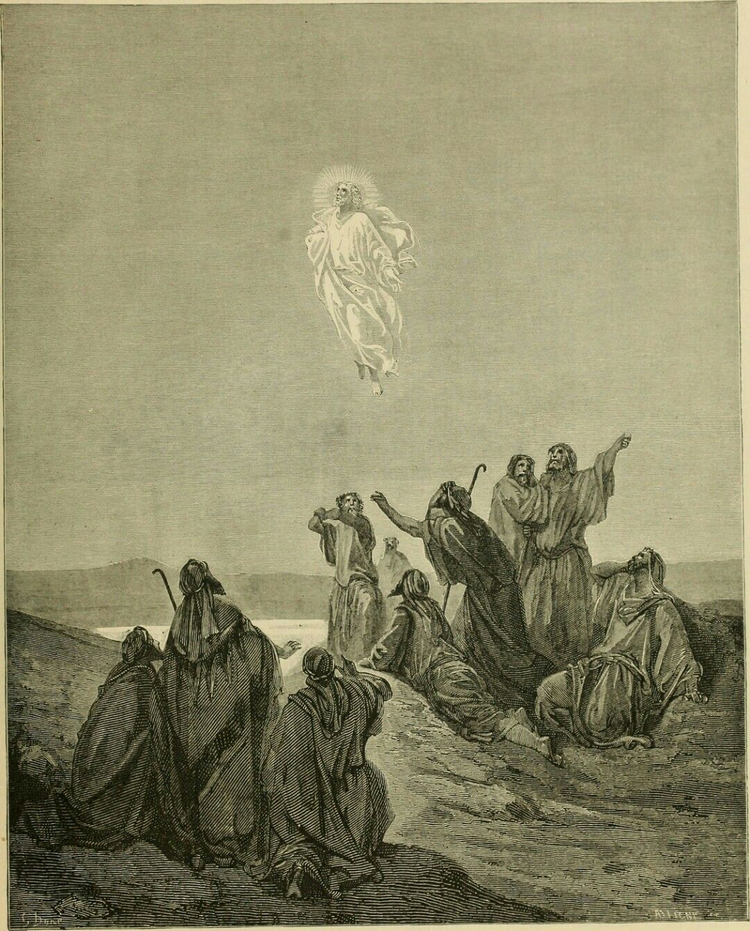 Phillip Medhurst presents William A. Foster's Bible Panorama 132/140 : JESUS ASCENDS INTO HEAVEN. Luke XXI. 51. After Gustave Doré.
