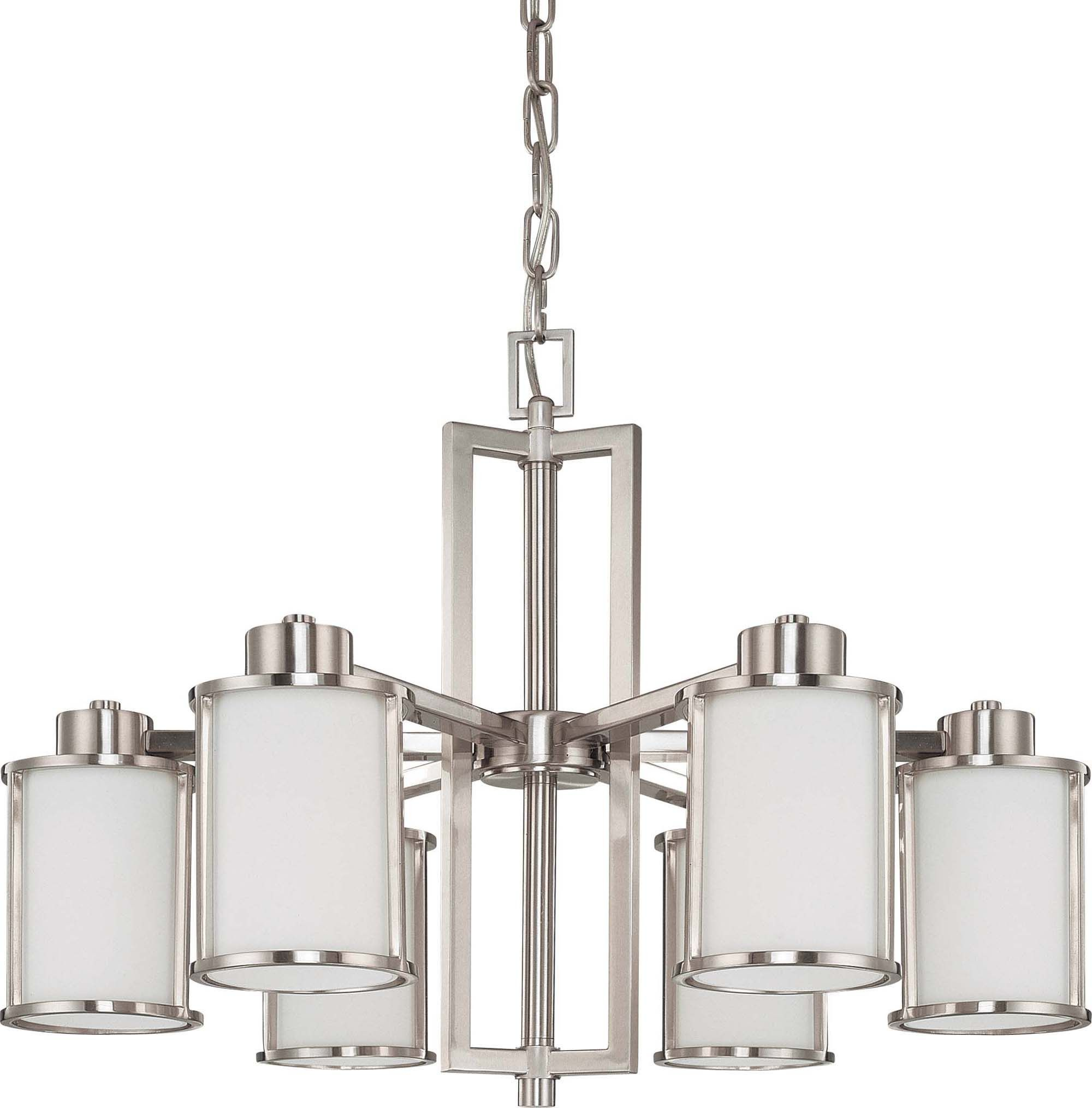 Nuvo Odeon 6 Light convertible up down Chandelier w Satin White