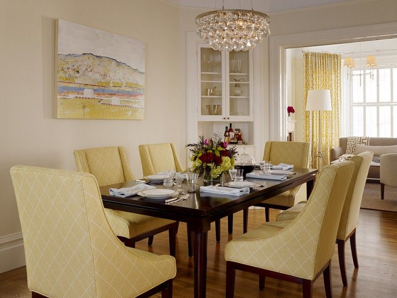 Transitional Dining Room Yellow Dining Chairs Dark Finishing Wood