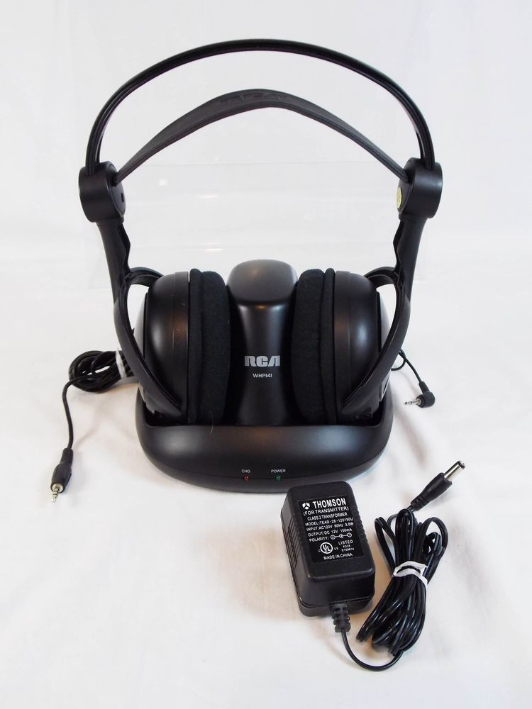RCA Wireless Digital Headband Headphones Transmitter WHP141 900MHz Black Tested