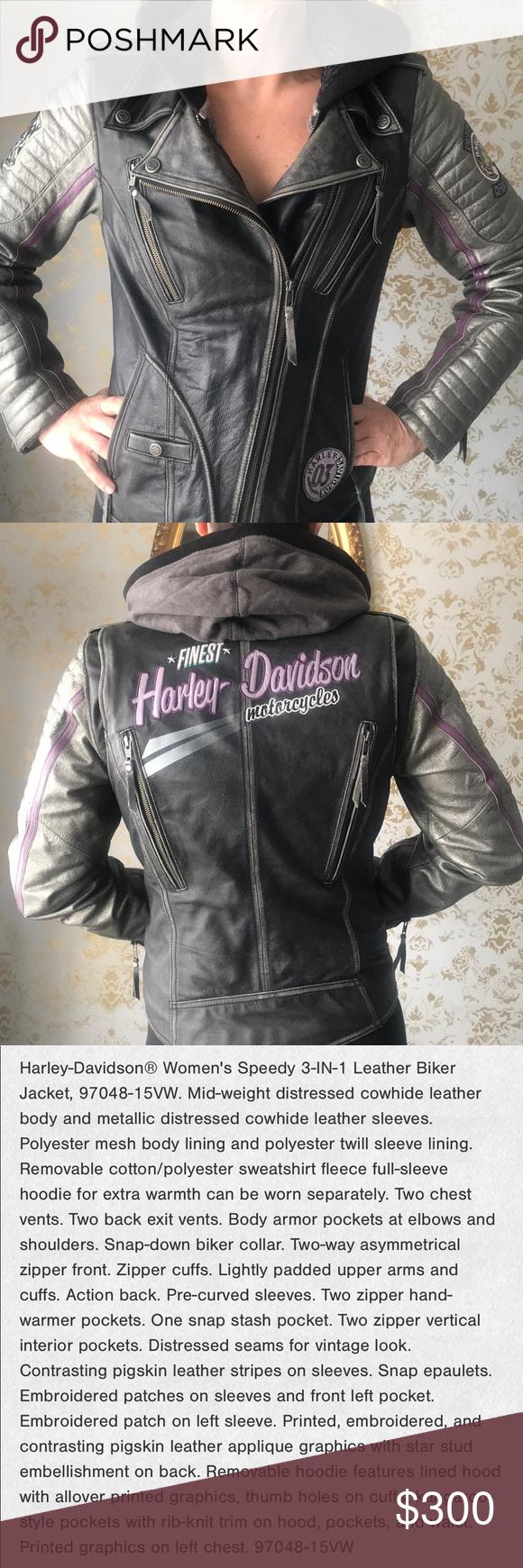 Harley Davidson 3 In 1 Leather Jacket Leather Jacket Jackets Asymmetrical Zipper [ 1740 x 580 Pixel ]