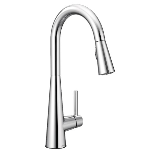 Sleek Chrome One Handle Pulldown Kitchen Faucet Touchless