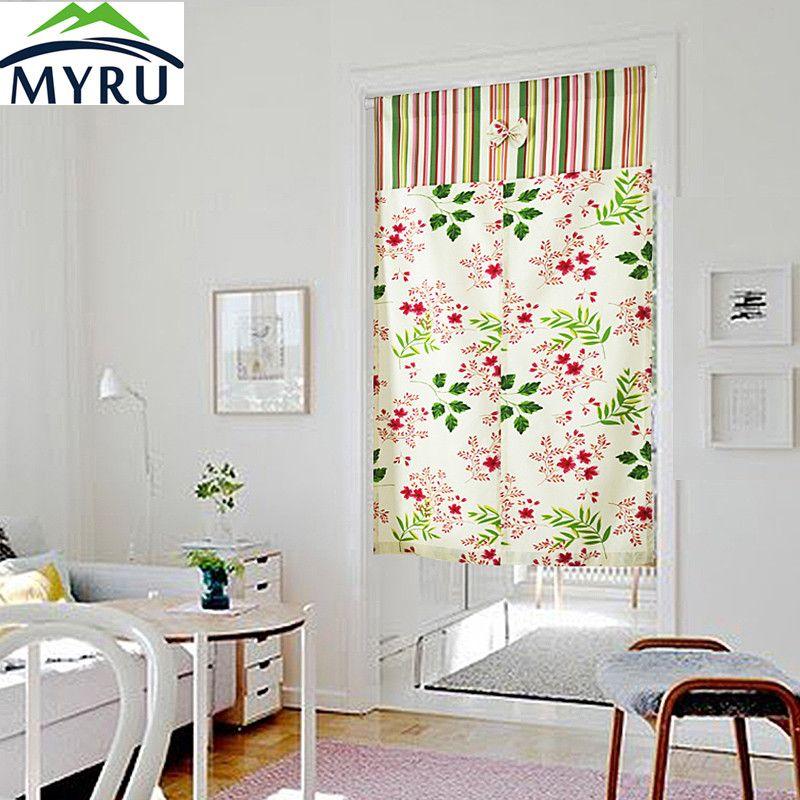 Myru Korean Garden Style Cotton Cloth Door Curtain High Grade Parion Cherry Feng