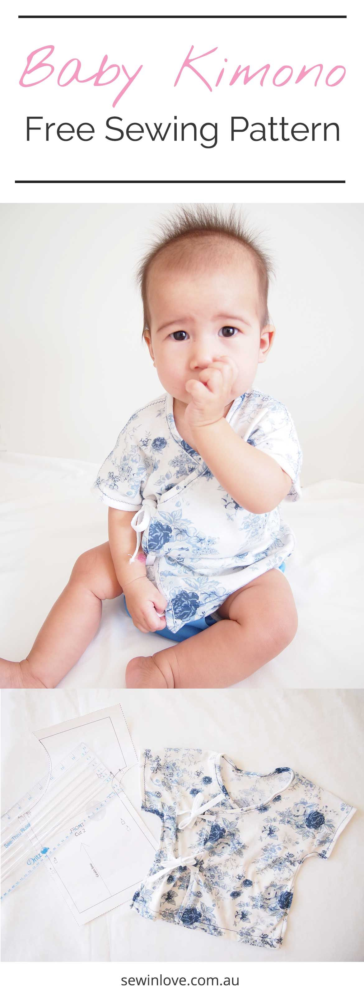 Free Sewing Pattern: Soft and Cosy Baby Kimono | Bebes - Costura ...