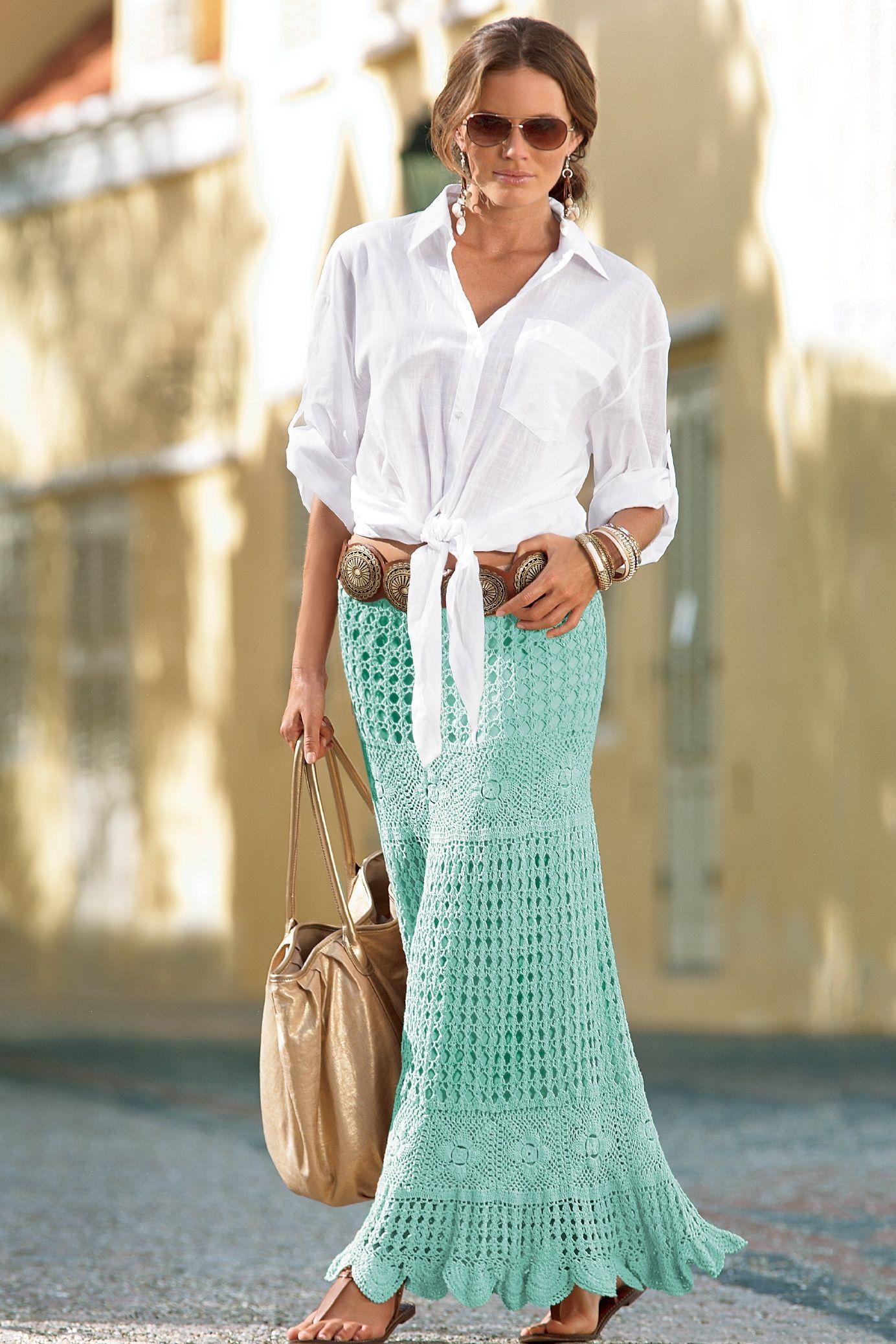 Boston Proper Hand Crocheted Boho Skirt #Bostonproper