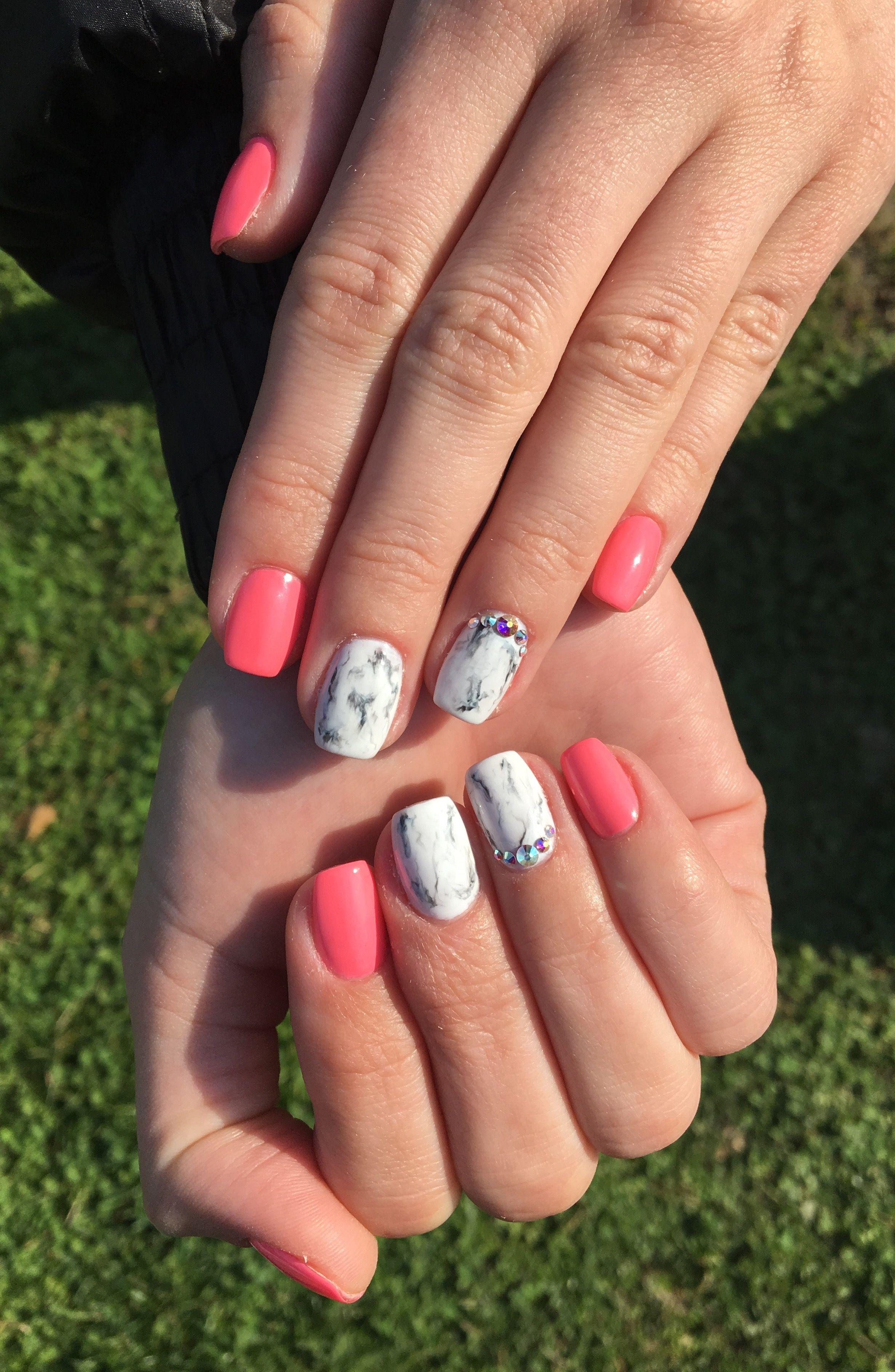 Coral nails, marble nails, swarovski, love nails! ❤ | Nails ...