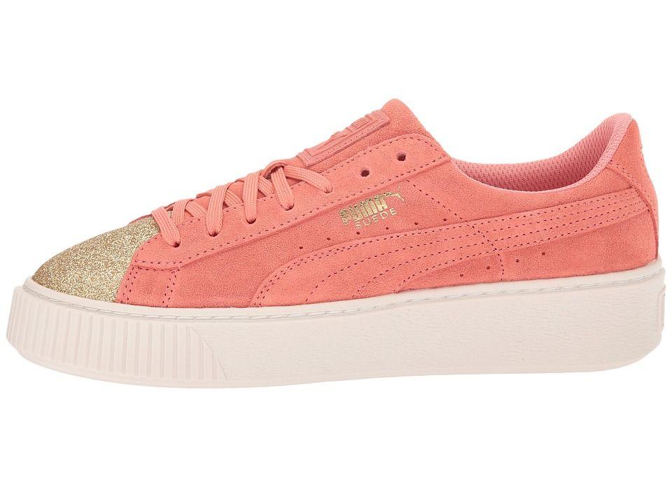 43c1fc7ca093 Puma Kids Suede Platform Glam (Big Kid) Girls Shoes PUMA Team Gold Shell  Pink