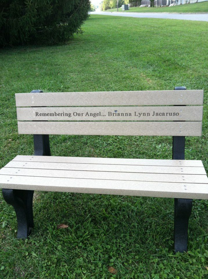 briannas memorial bench from the memorial event held for the one