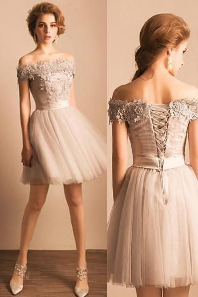 5923b67b134 Grey Off Shoulder Elegant Style Homecoming Dresses
