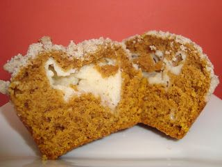 Dip it in Chocolate: Pumpkin Cream Cheese Muffins with Pecan Streusel