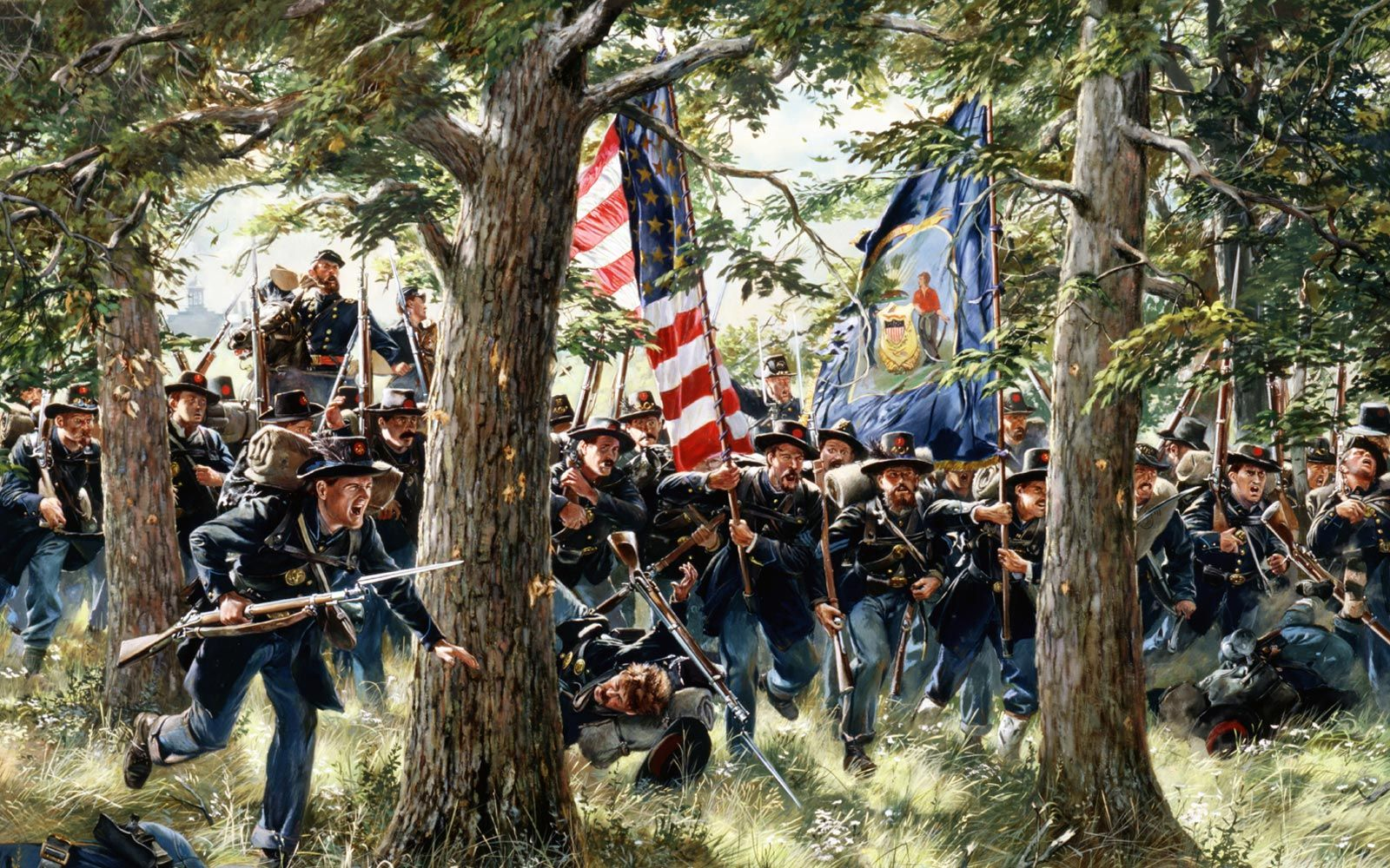 In this painting by Don Troiani, soldiers of the 2nd Wisconsin Infantry Regiment, a unit of the Iron Brigade, charge to relieve Buford's cavalry-men at McPherson's Ridge on July 1, 1863.