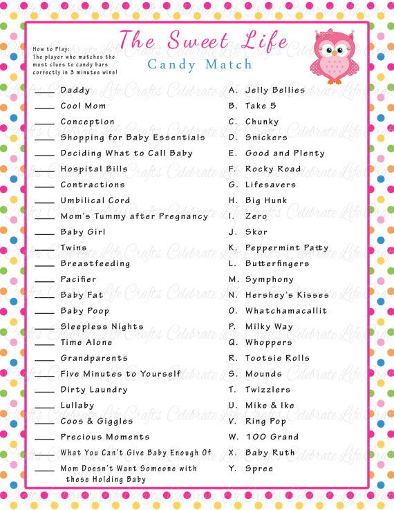 Baby Shower Sweet Life Candy Bar Match Game - Printable Baby Shower