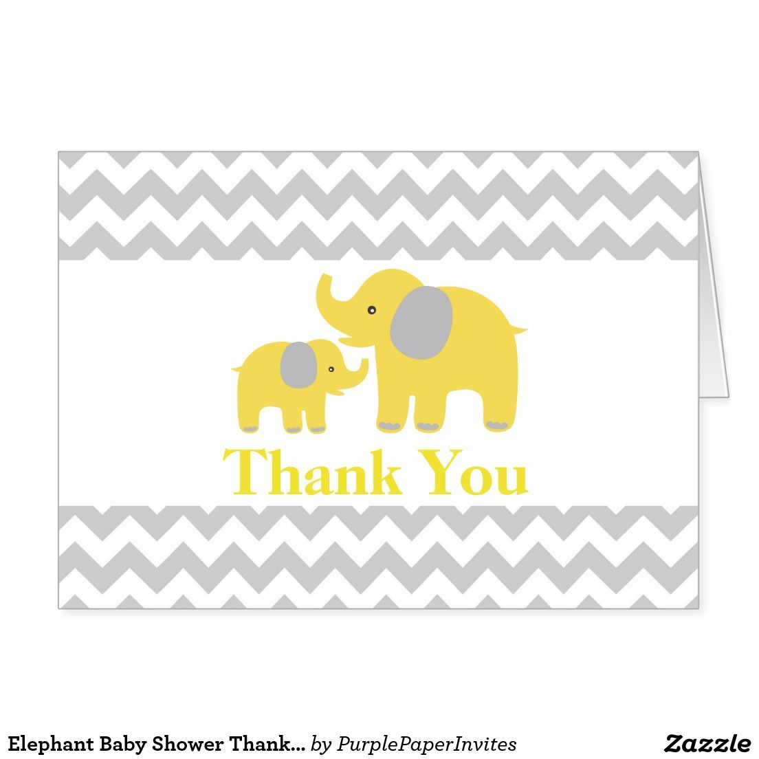 elephant baby shower thank you card yellow gray