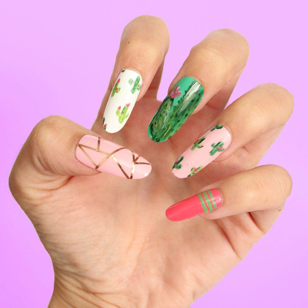 Christmas False Nails Uk: Cactus Press On Nails