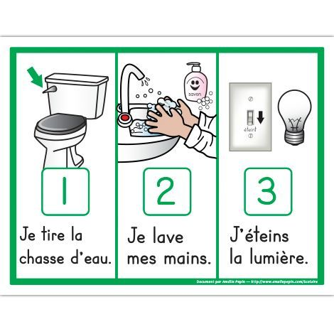 french classroom management voici 3 tapes illustr es de la routine de la toilette je tire la. Black Bedroom Furniture Sets. Home Design Ideas