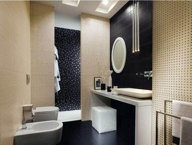 Moderne Badezimmer Fliesen in Schwarz und Hellbeige 3D Effekt mit