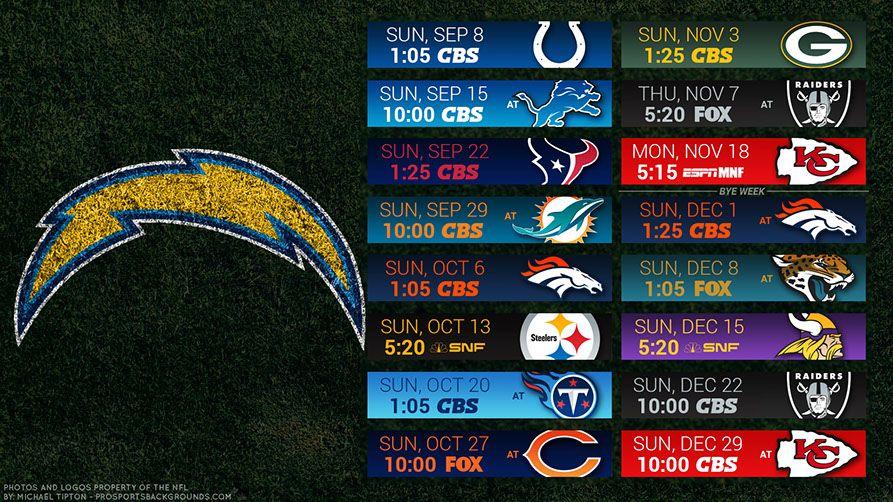 Los Angeles Chargers 2019 Desktop PC Field NFL Schedule