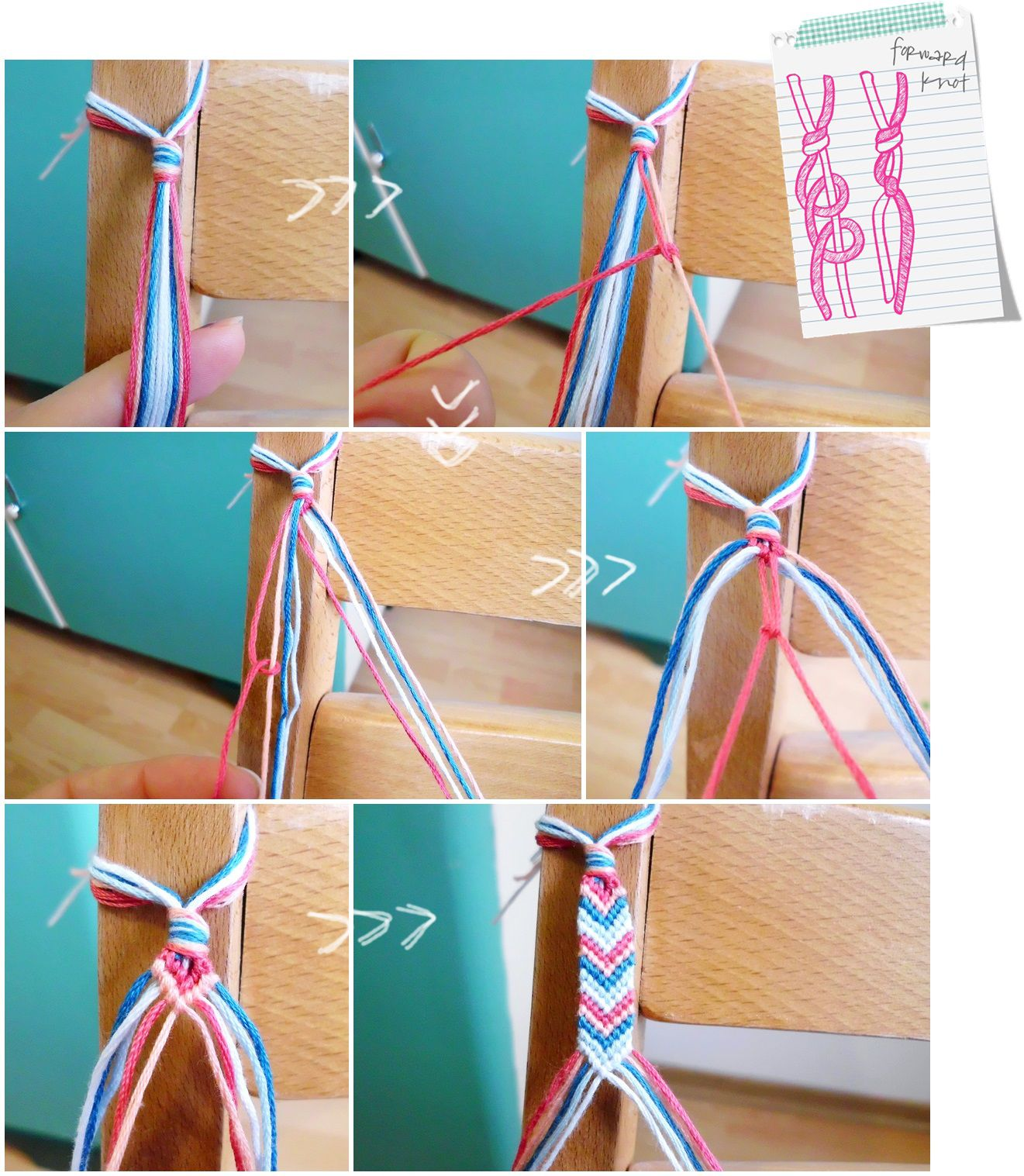 Curious And Catcat: Friendship Bracelets Part 2: Forward Knot And Chevron  Bracelet