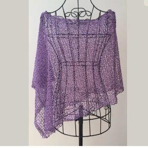 Anthropologie Sweaters - STELLA Asymmetrical Purple Weave Sequin Shawl #anthropologie #stella #shawl #purple #shopmycloset #poshmark #fashion #shopping #style #forsale