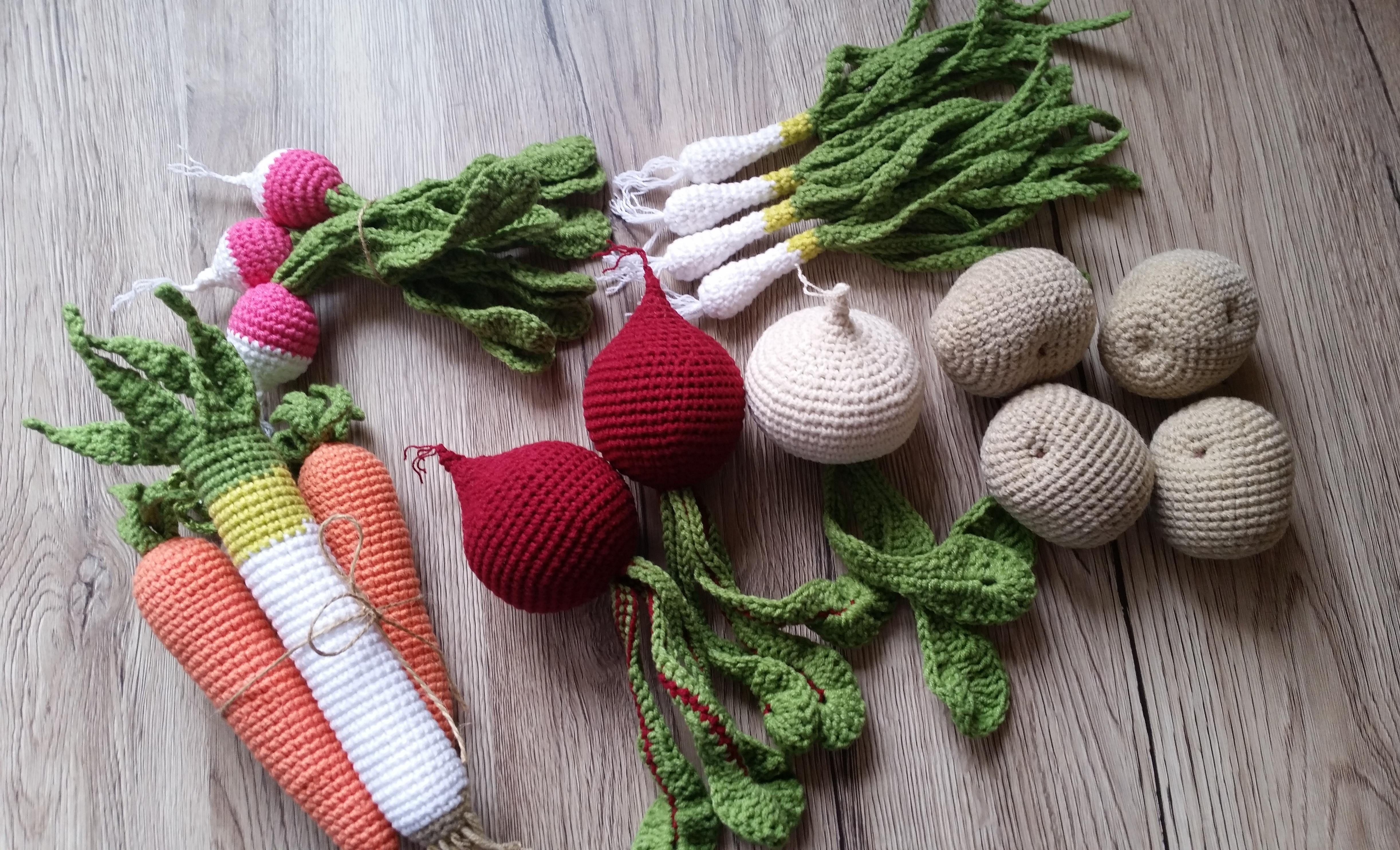 Szydelkowe Warzywa Jarzyny Zabawki Dla Dzieci Zabawki Edukacyjne Crochet Food Playfood Macrame Plant Hanger Christmas Ornaments Plant Hanger
