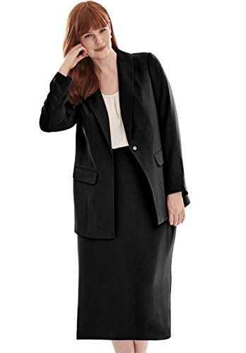 Jessica London Womens Plus Size Single Breasted Jacket Dress