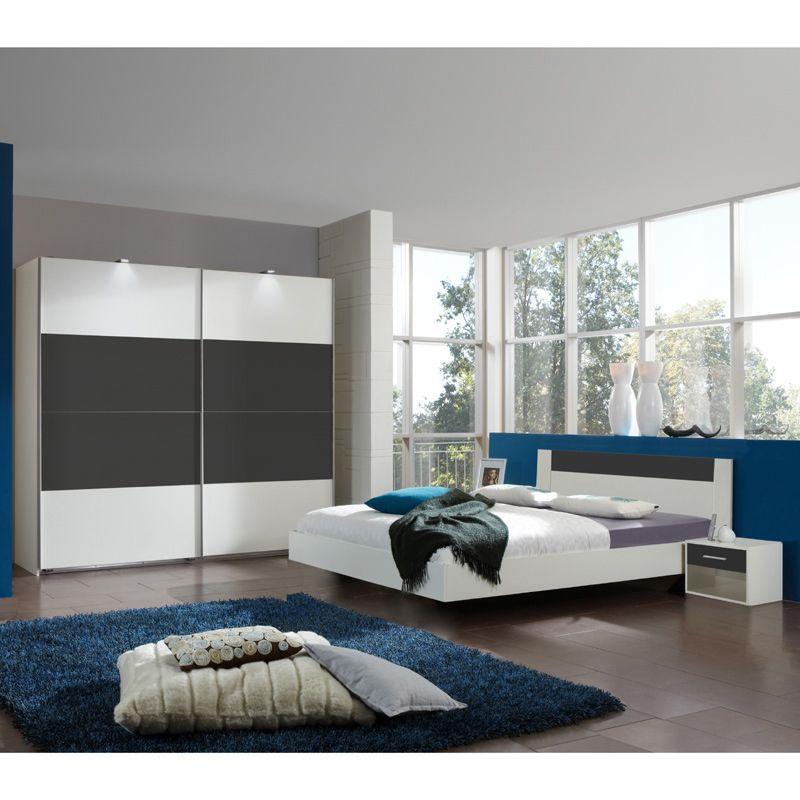 Schlafzimmer Set ILONI166 anthrazit weiß 160cm Bett Jetzt bestellen - schlafzimmer komplett