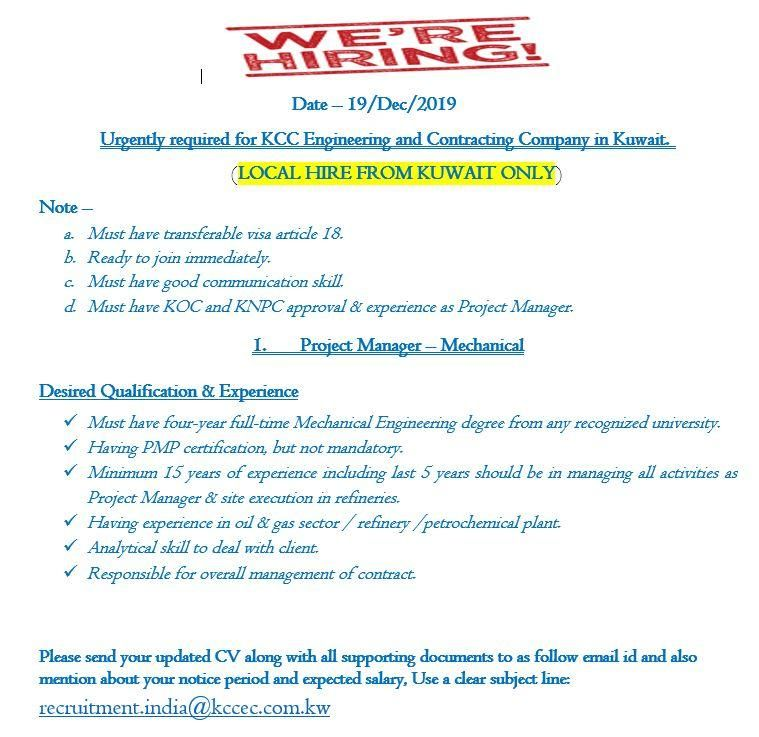 Project Manager Mechanical Kuwait Openings Project Management Management Kuwait