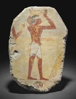 AN EGYPTIAN WALL-PAINTING FRAGMENT
