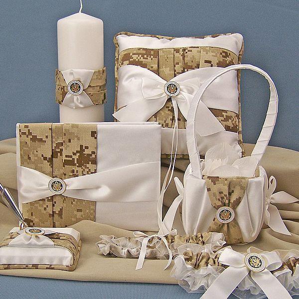 Camo Outdoor Wedding Ideas: Digital Desert Camo Military Wedding Accessories Set