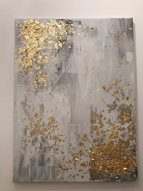 Ähnliche Artikel wie Light grey and gold leaf abstract painting auf Etsy