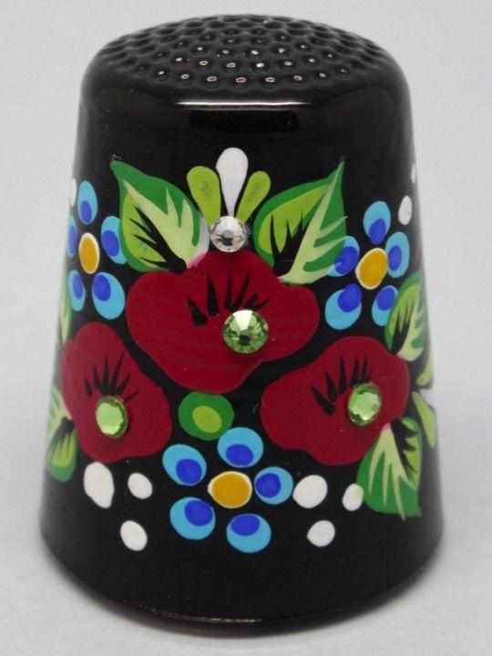 Cristal Bohemia, pintado a mano y cristalitos. Bohemian Gifts. Rep. Checa. Thimble-Dedal-Fingerhut.