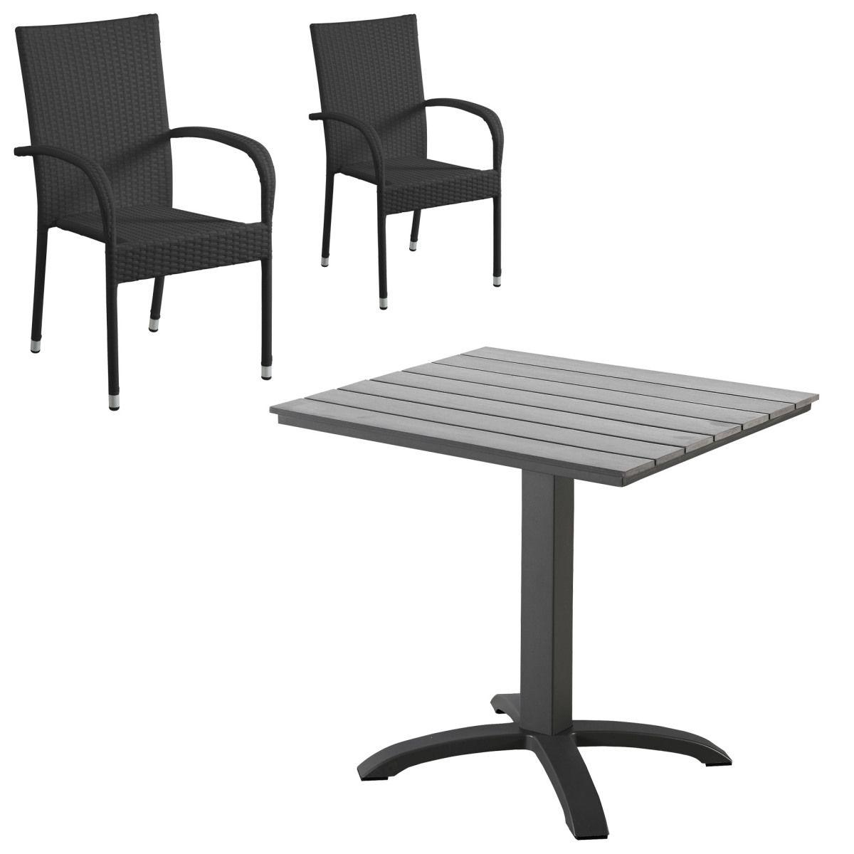 Gartenmöbel-Set Miami/ Palermo (Cafétisch, 2 Stühle, schwarz) Jetzt ...
